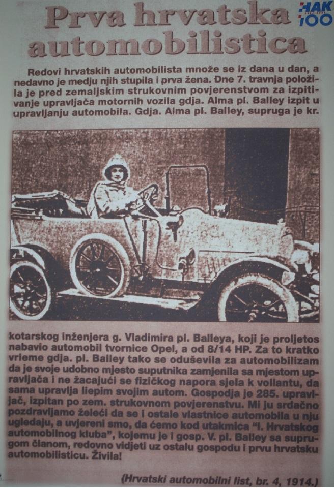 100 godina od prve hrvatske automobilistice