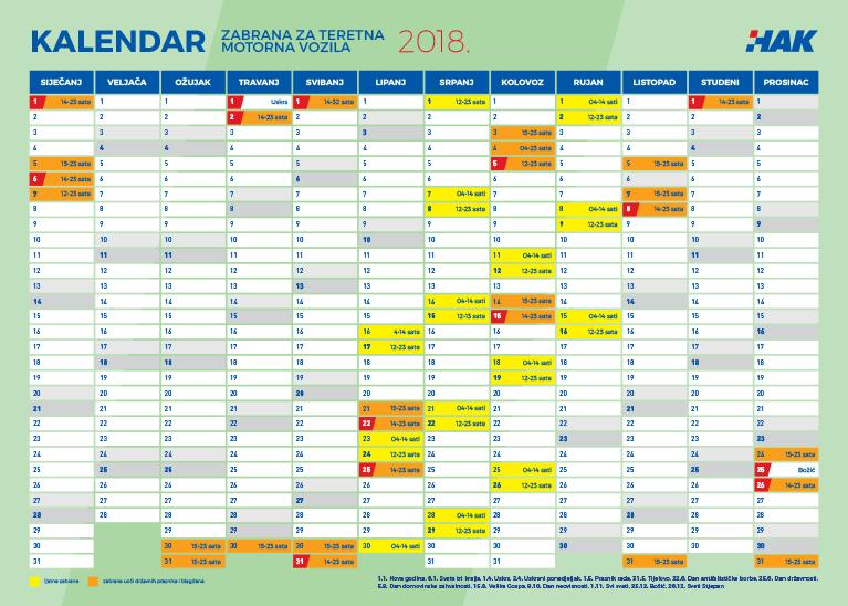 Novi kalendar gustoće prometa i zabrana za teretna vozila iznad 7,5t za 2018. godinu