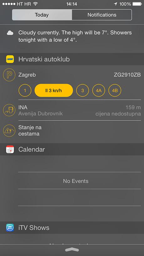 HAK widget za iOS 8