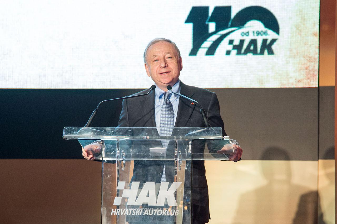 Predsjednik Svjetske automobilističke federacije (FIA), g. Jean Todt u obraćanju okupljenima na središnjoj svečanosti u hotelu Esplanade u Zagrebu