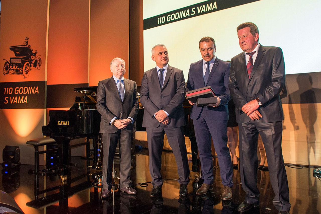 (slijeva) Predsjednik FIA-e Jean Todt, zamjenik predsjednika HAK-a Ivo Bikić, ministar unutarnjih poslova Vlaho Orepić i predsjednik HAK-a Slavko Tušek