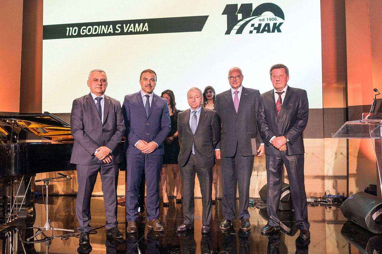 (slijeva) Zamjenik predsjednika HAK-a Ivo Bikić, ministar unutarnjih poslova Vlaho Orepić, predsjednik FIA-e Jean Todt, predsjednik FIA regije I Thierry Willemarck, predsjednik HAK-a Slavko Tušek