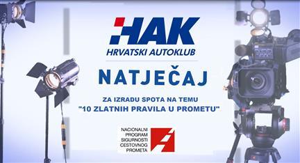 """Hrvatski autoklub raspisuje natječaj za izradu video spotova na temu jednog od """"10 Zlatnih pravila u prometu"""""""